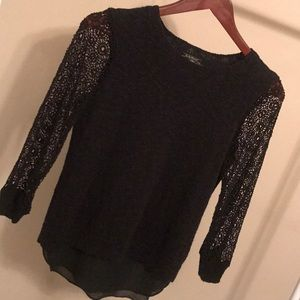 LUCKY BRAND Sweater with Open Crochet Sleeves XS